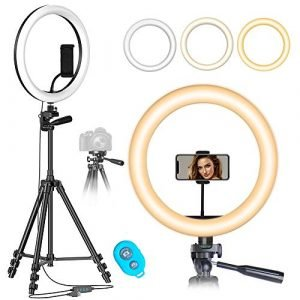 """Ring Light with 50\"""" Tripod Stand & Phone Holder for Makeup/YouTube/Live Streaming/Photography/Vlogging, MOUNTDOG 10 Inch Dimmable LED Ring Light Kit with 3 Light Modes & 14 Brightness Levels"""