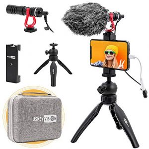 USKEYVISION VLOG K1 Smartphone Vlog Kit Microphone Youtuber Creator Set w/Video Microphone, Phone Holder, Tripod, 360° Ball Head, Case Bag, Compatible with iPhone Android Smartphones